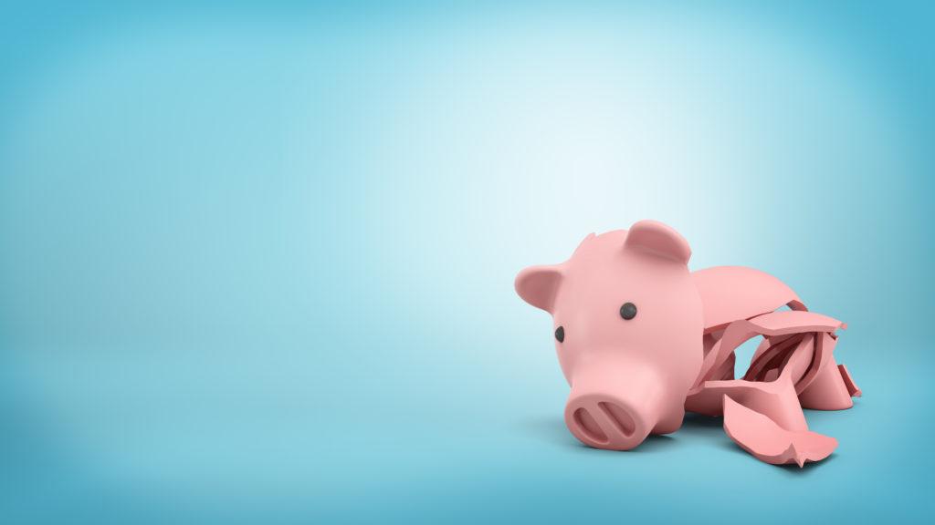 こわれた豚の貯金箱